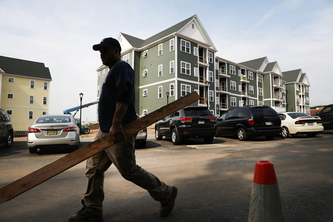 HAMDEN, CT - AUGUST 02: New housing stands at Canal Crossing, a luxury apartment community consisting of 393 rental units near the university city of New Haven on August 2, 2017 in Hamden, Connecticut. According to a Pew Research Center analysis of Census Bureau housing data, more U.S. households are headed by renters than at any point since at least 1965. Sixty-five percent of households headed by people under the age of 35 were renting in 2016, an increase from the 2006 figure of 57 percent. (Photo by Spencer Platt/Getty Images)