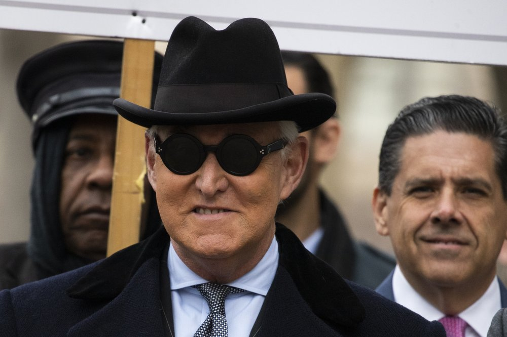 Roger Stone arrives at federal court in Washington, Thursday, Feb. 20, 2020. Roger Stone, a staunch ally of President Donald Trump, faces sentencing Thursday on his convictions for witness tampering and lying to Congress. (AP Photo/Manuel Balce Ceneta)