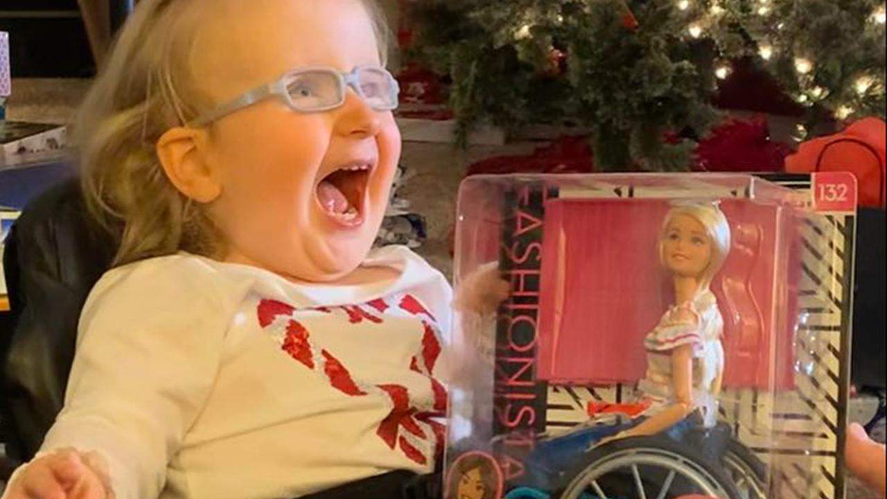 An Ohio 2-year-old with Spina Bifida was more than ecstatic when she received a Barbie doll in a wheelchair. (Credit: Inside Edition)