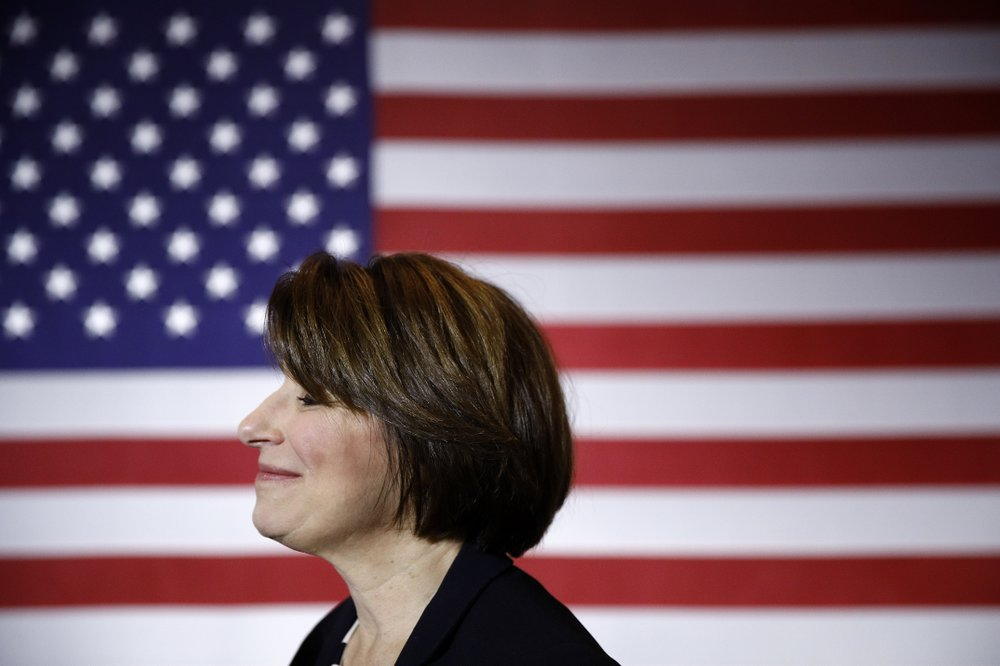 FILE - In this Jan. 10, 2020, file photo Democratic presidential candidate Sen. Amy Klobuchar, D-Minn., visits with attendees after speaking at a campaign event in Cedar Rapids, Iowa. (AP Photo/Patrick Semansky, File)