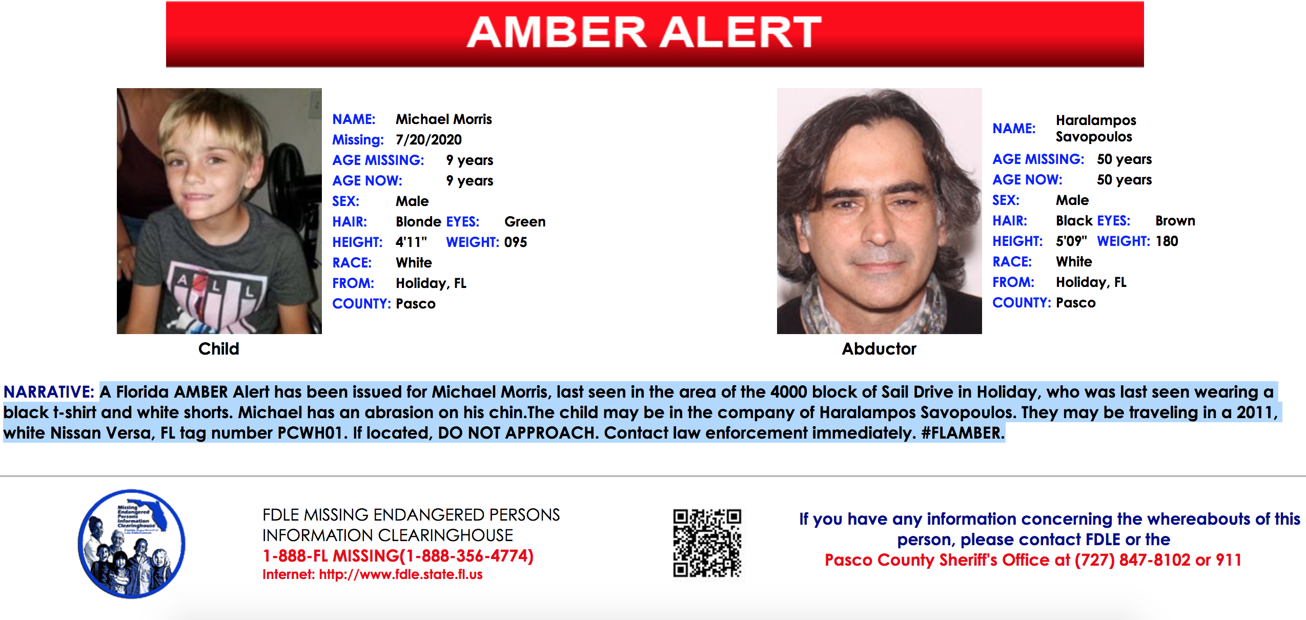 Amber Alert Canceled After 9 Year Old Pasco County Boy Found Safe