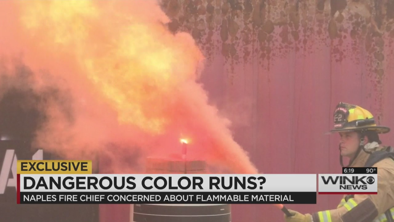 Fire officials concerned about flammable material used in colored ...