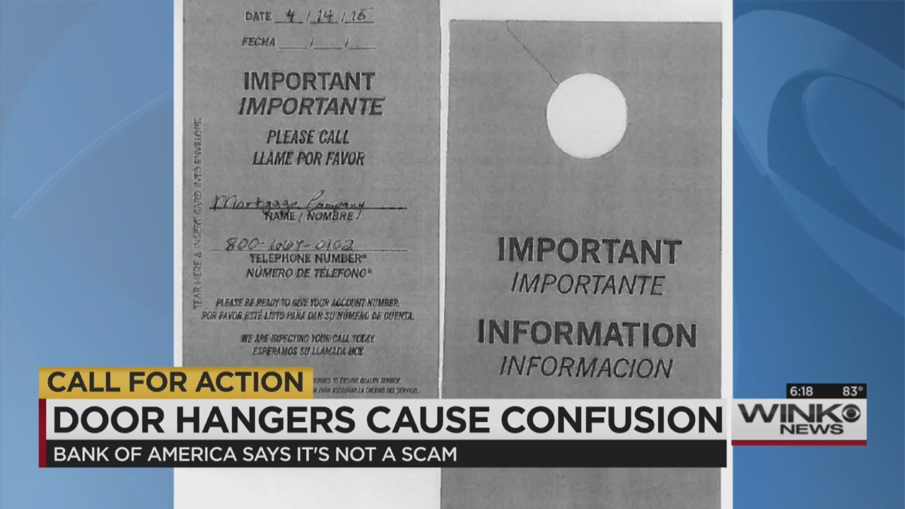 Published ... & Call for Action: Bank of America says notices on doors not a scam