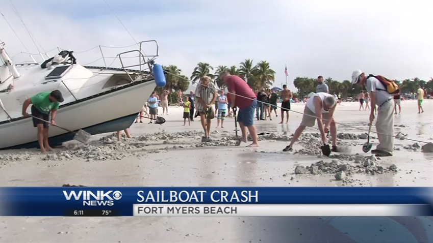 Boat trapped on Fort Myers Beach