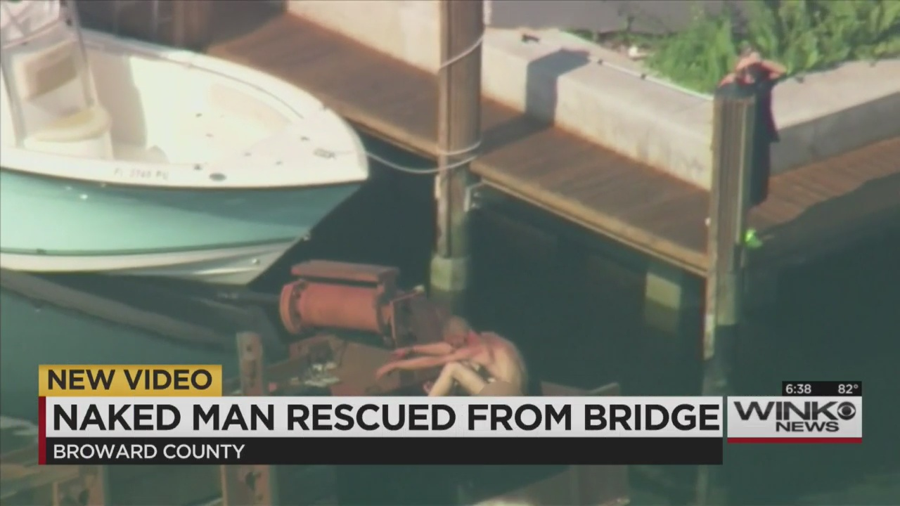Naked man rescued after getting stuck on Florida